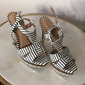 Stunning Giani Bini Striped/ Wooden heels NW